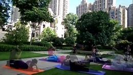 清晨在心语小区院内练瑜伽