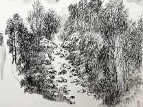西安美院教授李百战国画山水写生作品赏析 金安传媒