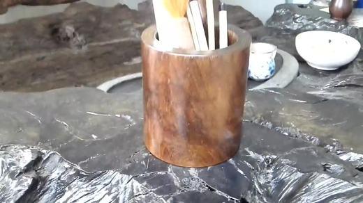 从一段烂木到精品的转变 千年乌木文房书法字画笔筒加工全过程