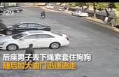 【广东】偷狗贼飞车套狗 凌空拽起拖行拉走