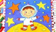 儿童画场景故事 遨游太空的宇航员图片