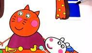 小猪佩奇和坎迪的妈妈学做手工卡通简笔画上色游戏