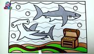 儿童绘画一张有故事的简笔画鲨鱼守护着宝藏图片