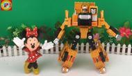 工程战甲合金变形机器人!米妮玩工程车玩具