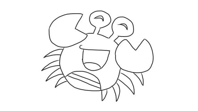 超萌可爱卡通螃蟹幼儿亲子简笔画 宝宝轻松学画画