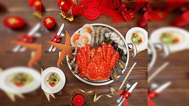 【味库海鲜】 鲜活阿拉斯加帝王蟹鲜鲍鱼套餐(1-3人)