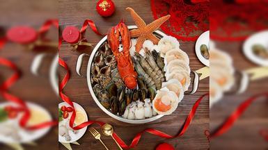 【味库海鲜】鲜活波士顿龙虾鲜贝套餐(3-5人)