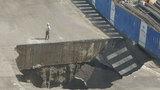 北京通州玉桥东路突发路面塌陷 降雨为事故原因