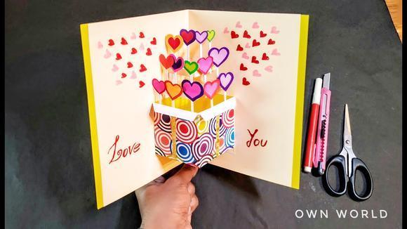 教你做一个漂亮的立体生日贺卡,打开是爱心礼物,手工diy