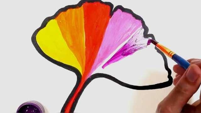 树叶简笔画,秋天的枫叶,色彩斑斓!