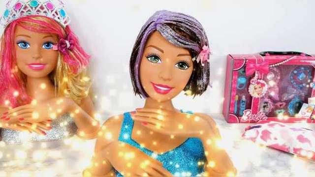 儿童趣味芭比娃娃美发店玩具,为芭比娃娃剪个干净利落的短发吧图片