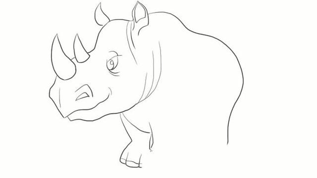 强壮的犀牛儿童亲子简笔画