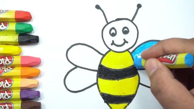 蜡笔画简单漂亮,零基础学画画,今天画小蜜蜂然后涂上美丽的色彩图片