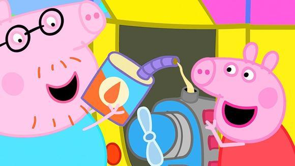 小猪佩奇观察猪爸爸给露营车加油 简笔画