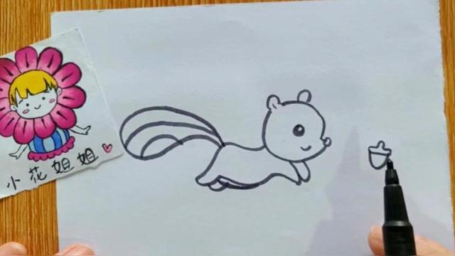 小花简笔画:追松果的小松鼠,会让你想起《冰川时代》的经典画面