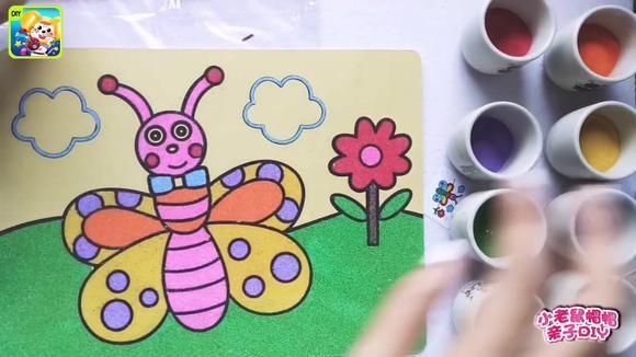 创意手工沙画:给勤劳的小蜜蜂涂上绚丽色彩,你喜欢吗?图片