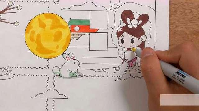 关于月亮的手抄报绘画,嫦娥玉兔栩栩如生,喜欢的收藏起来吧
