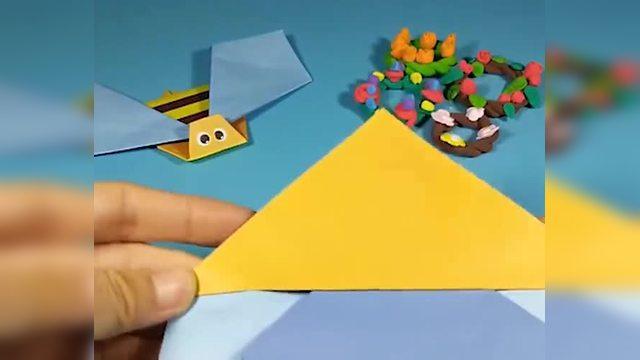 儿童趣味手工折纸花丛中的小蜜蜂图片