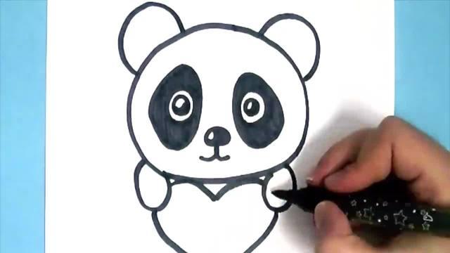 儿童涂鸦简笔画:抱着爱心的小熊猫宝贝