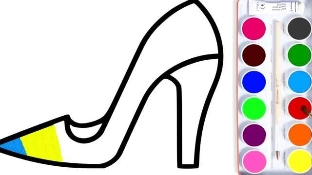 儿童涂鸦简笔画:彩虹色的高跟鞋