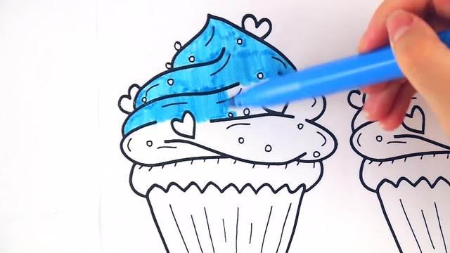 儿童涂鸦简笔画:彩色爱心冰淇淋