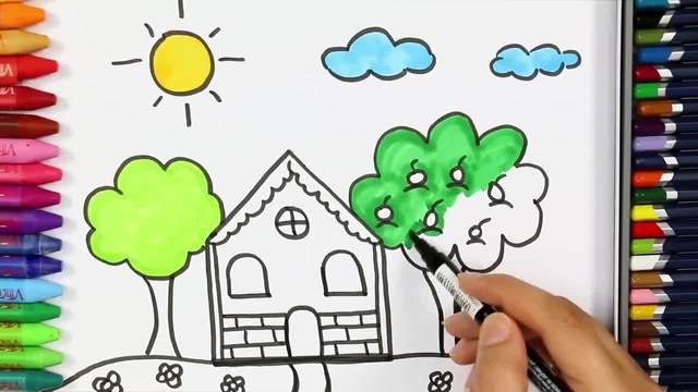 儿童涂鸦简笔画:超级美丽的家园