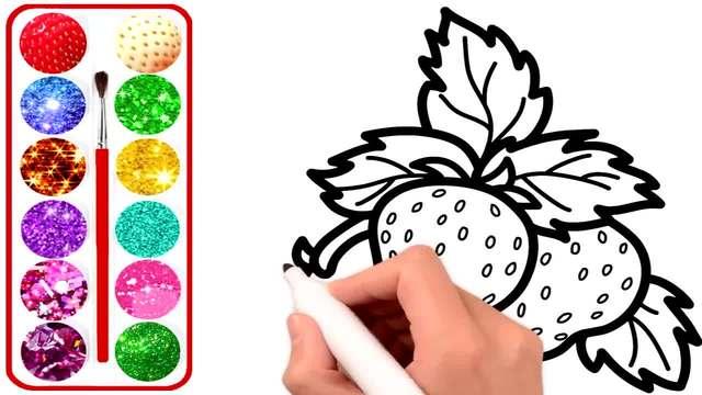 儿童涂鸦简笔画:画板上的大草莓,你心动了吗