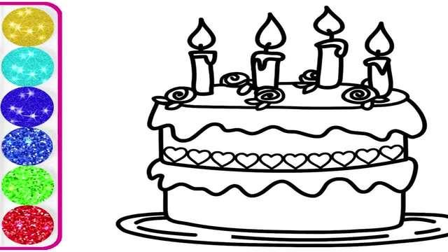 儿童涂鸦简笔画:绘制双层蛋糕,快来帮它上色吧