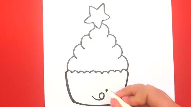 儿童涂鸦简笔画:美味的圣诞纸杯蛋糕