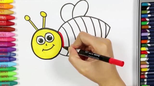 儿童涂鸦简笔画:勤劳的彩色小蜜蜂