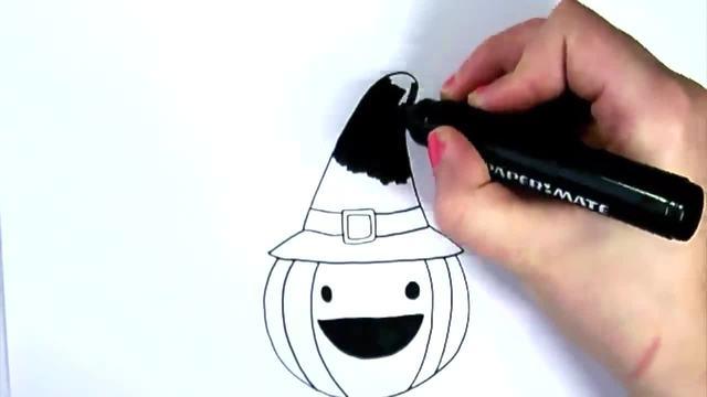 儿童涂鸦简笔画:涂鸦戴帽子的南瓜