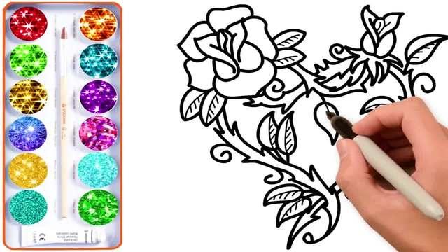 儿童涂鸦简笔画:鲜艳的红色玫瑰花,把它送给你最爱的人吧
