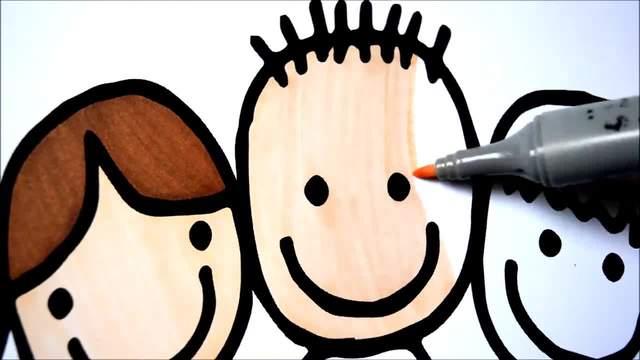 儿童涂鸦简笔画:小朋友手牵手
