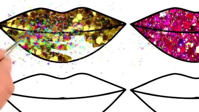 儿童涂鸦简笔画:六个闪着光芒的嘴巴