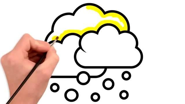 儿童涂鸦简笔画:三朵下雨的彩云