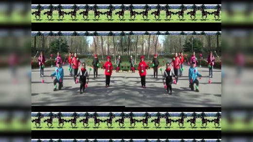 双图像 八一湖花棍队的朋友们打双棍表演《中国美》